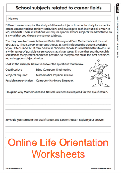 Grade  Online Life Orientation Worksheets  Careers For More