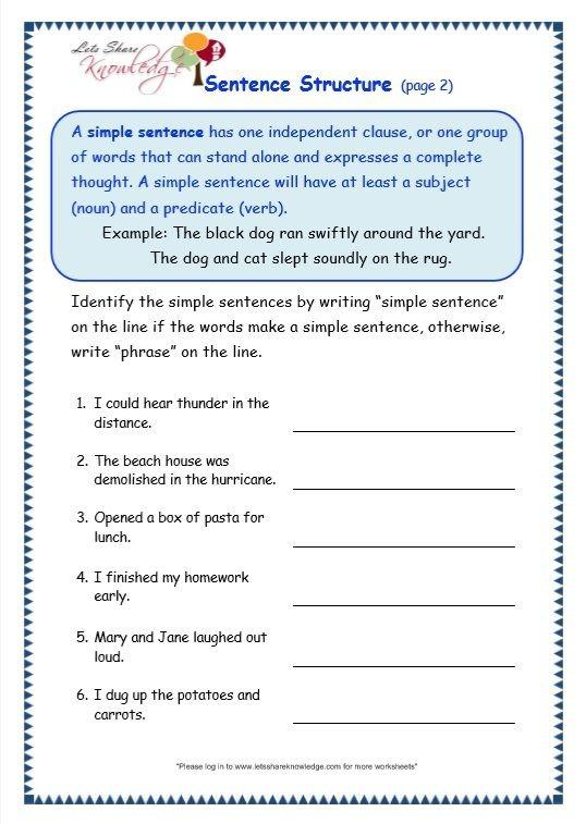 Grade Grammar Topic Sentence Structure Worksheets On Sentences For