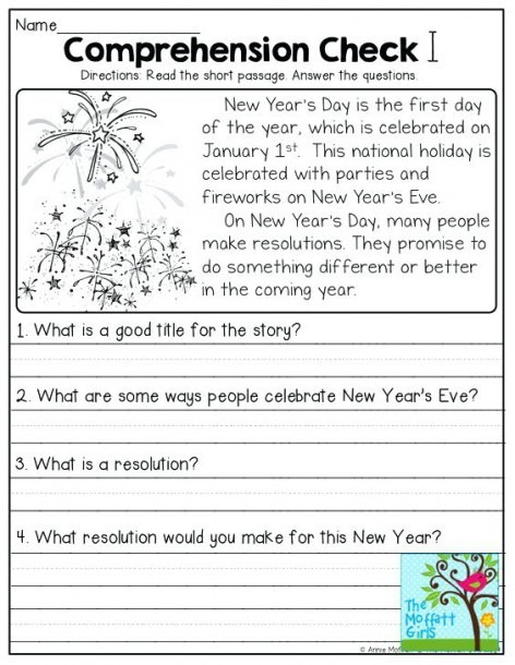 Grade Readingheets For Christmas First Comprehension Free