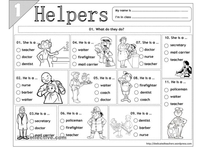 Helpers With Images Community Worksheets Basic Mathematics