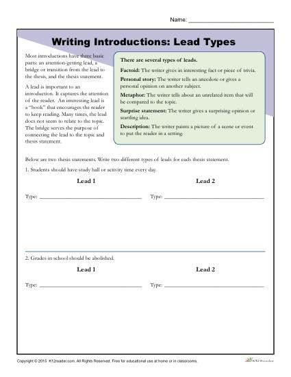 How To Write An Introduction Lead Types Worksheet Activity