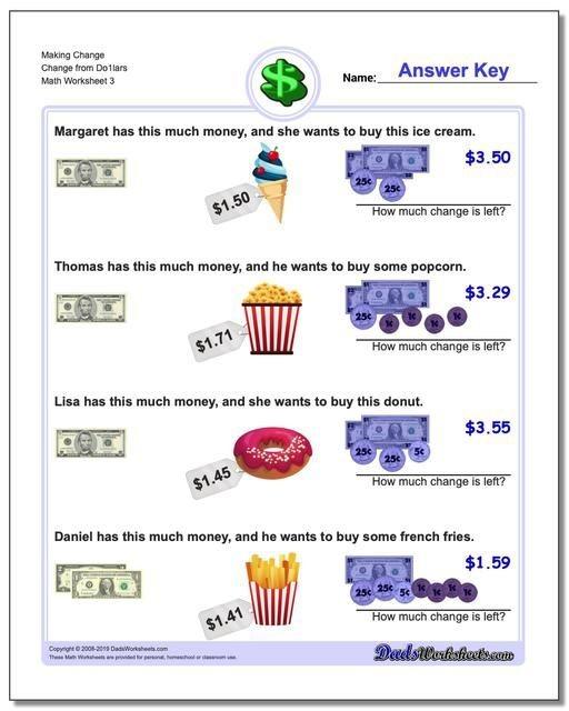 Httpswwwdadsworksheetscom  Making Change Change From Dolars
