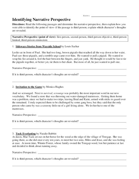 Identify Narrative Perspective Worksheet For Th