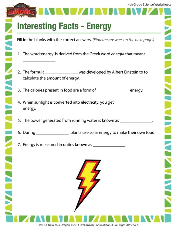 Interesting Facts Energy View  Th Grade Worksheets  Sod