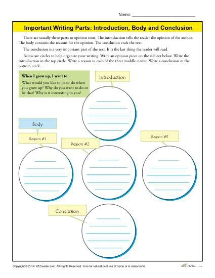 Introduction  Body And Conclusion Worksheet For Rd Grade