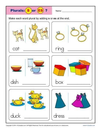 Kindergarten Plural Noun Worksheets