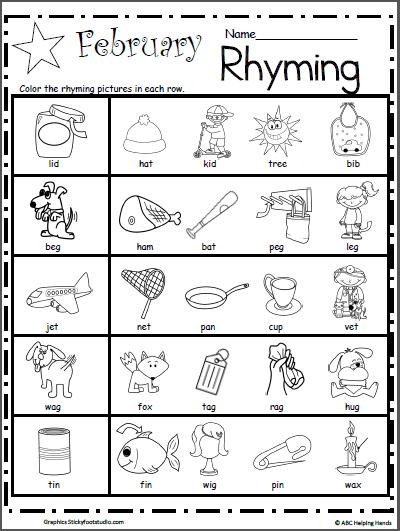 Kindergarten Rhyming Worksheets For February
