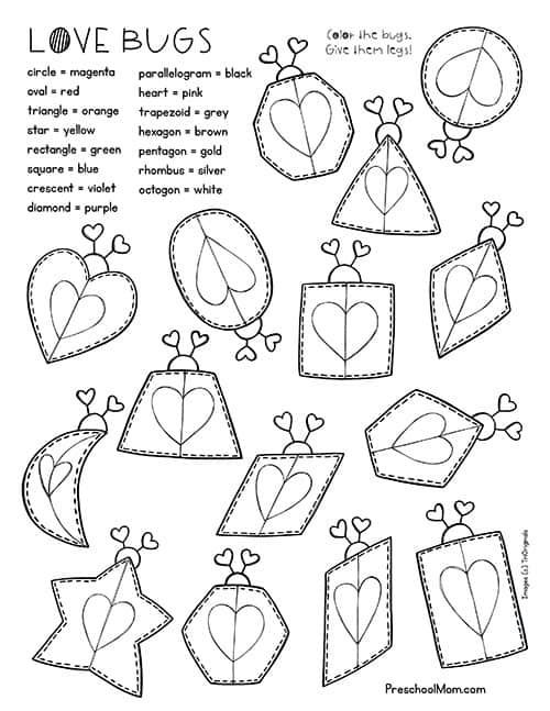 Lovebugsw Valentine Math Worksheets For Preschool Valentines Day