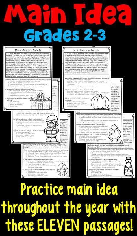 Main Idea And Supporting Details Worksheets For Nd And Rd Grade