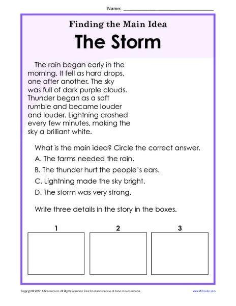 Main Idea Of A Story Worksheet Worksheets