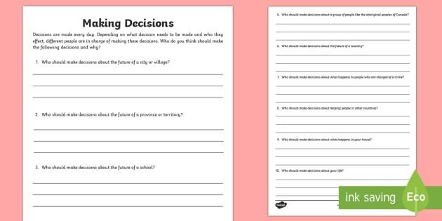 Making Decisions Worksheet  Worksheet Teacher Made
