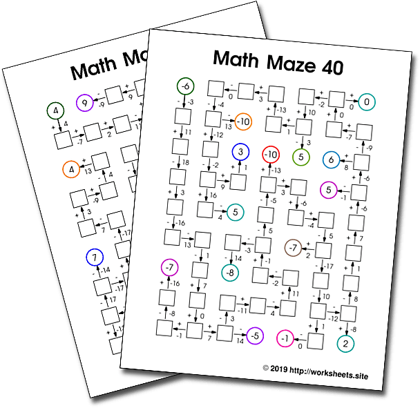 Math Mazes With Addition And Subtraction And Negative Numbers
