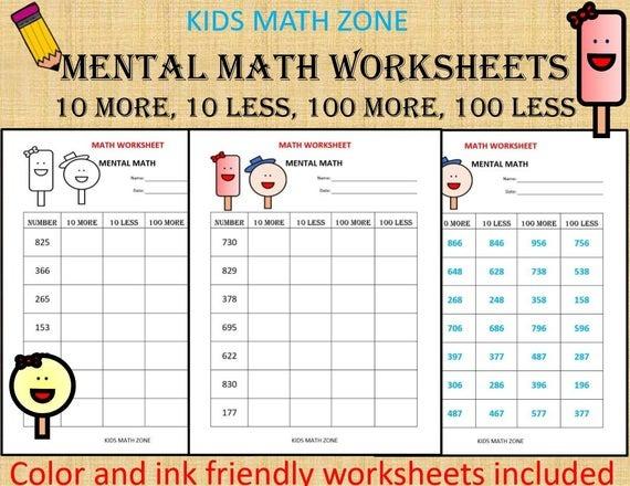 Mental Math  Math Worksheets Pdf Kindergarten Year