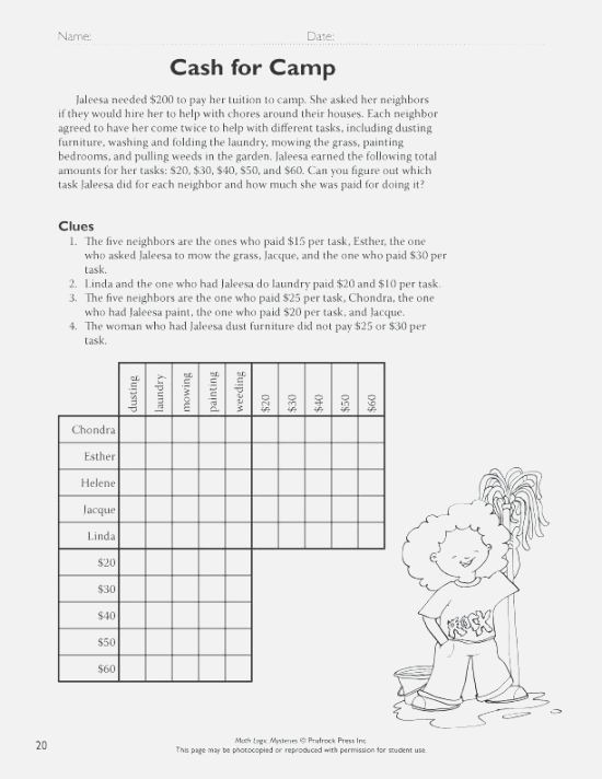 Middle School Math Brain Teasers Logic Puzzles Game For Puzzl On