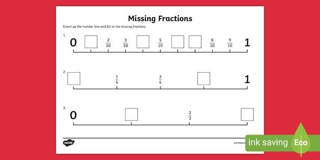 Missing Fractions On A Number Line Worksheet