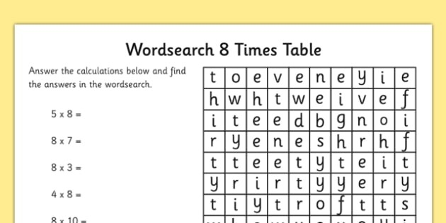 Multiplication  Times Tables Word Search Worksheet Ks