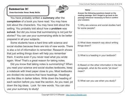 Nd Grade Reading Comprehension Worksheets Second Strategies