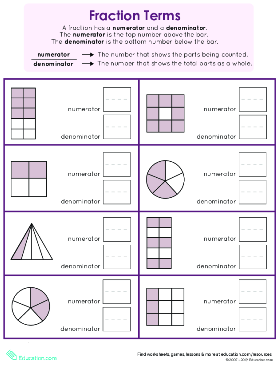 Numerator And Denominator Basic Fraction Terms Worksheets