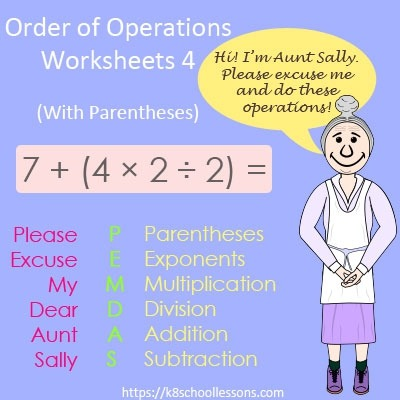 Order Of Operations Worksheets Pemdas Bodmas Pemdas My Dear Aunt