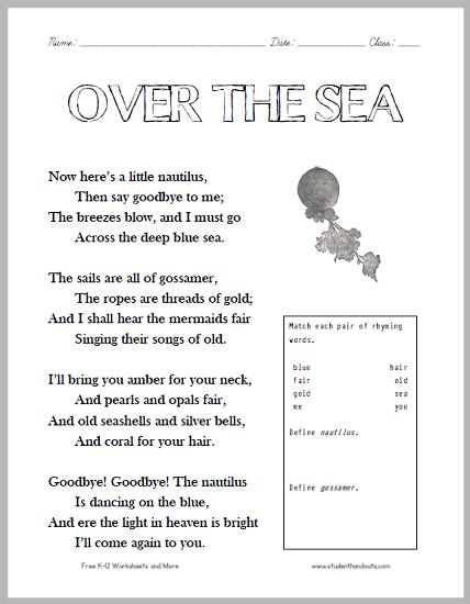 Over The Sea Poem Worksheet For Children