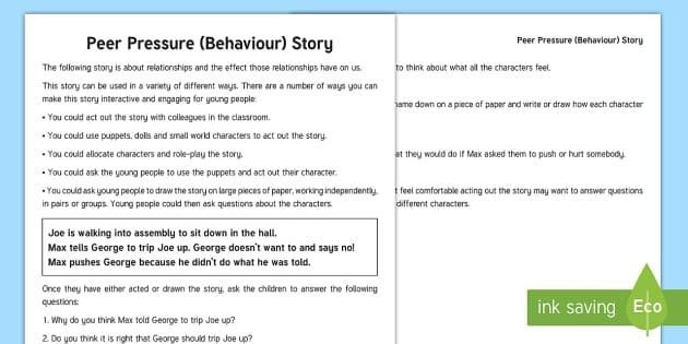 Peer Pressure Scenario Questions Worksheet Teacher Made