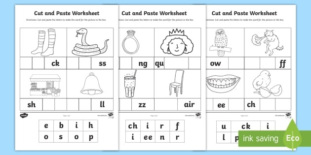 Phase  And  Sounds Cut And Paste Worksheet