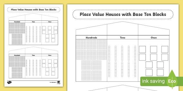 Place Value Houses Base Ten Blocks Worksheet Teacher Made