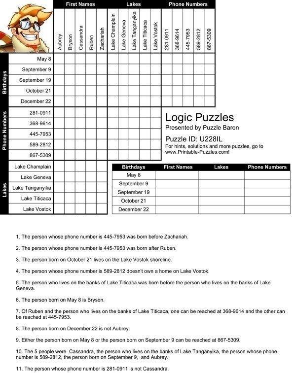 Printable Logic Puzzles