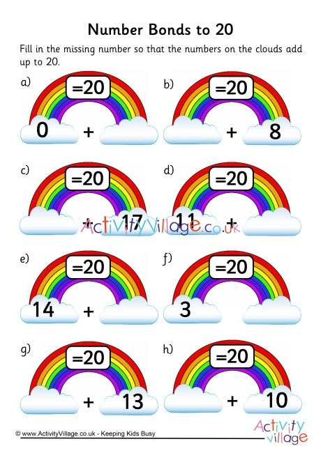 Rainbow Number Bonds Worksheet To
