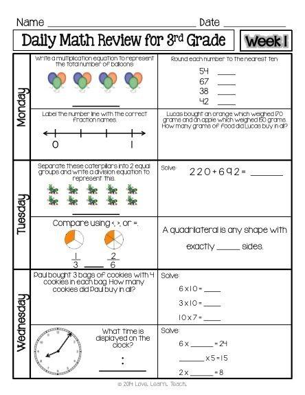 Rd Grade Daily Math Spiral Review Week
