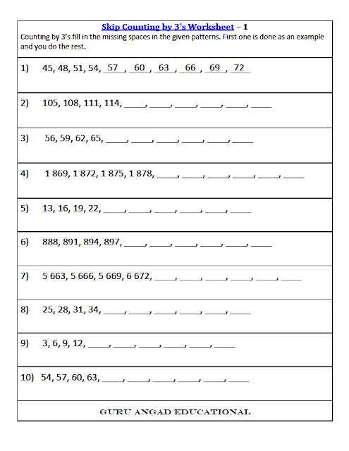Rd Grade Math Skip Counting Worksheets