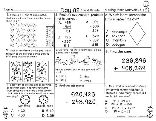 Rd Grade Math Spiral Review Sample