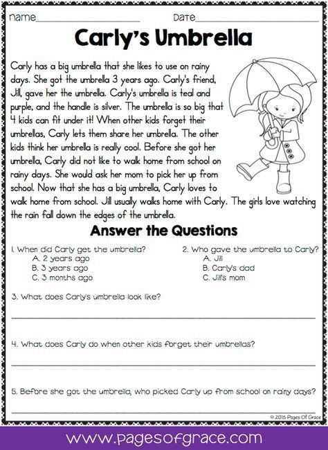 Reading Comprehension Passages And Questions For April