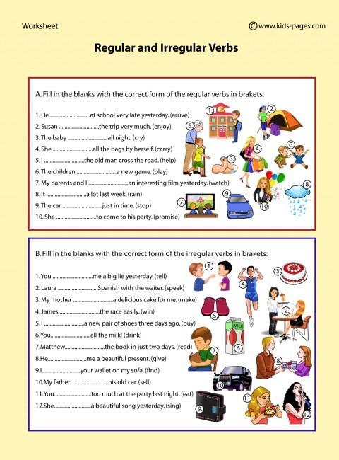 Regular And Irregular Verbs Worksheet
