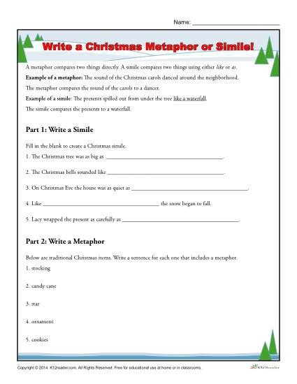Remarkable Simile Worksheets For Middle School Image Ideas Write