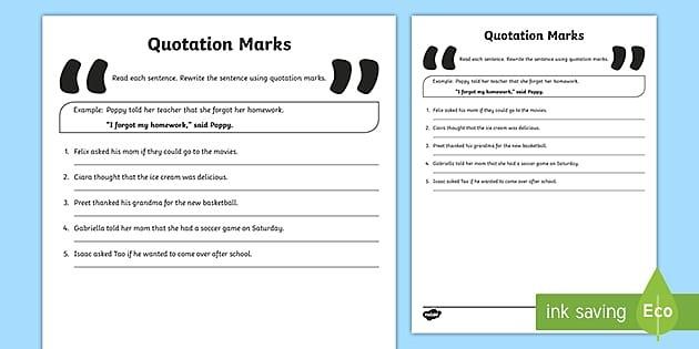 Rewrite The Sentences Using Quotation Marks Worksheet