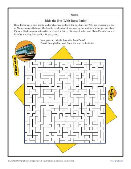 Ride The Bus With Rosa Parks Black History Month Worksheets St