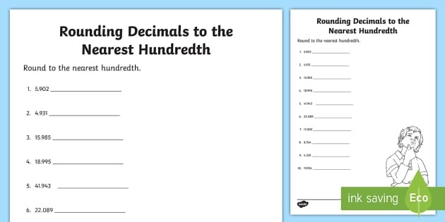 Rounding Decimals To The Nearest Hundredth Teacher Made