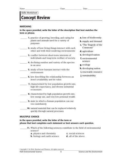 Science And Urban Life Worksheet Answers