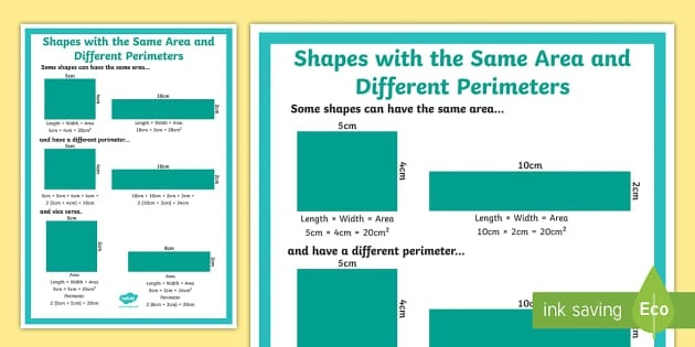 Shapes With The Same Area And Different Perimeters Display Poster