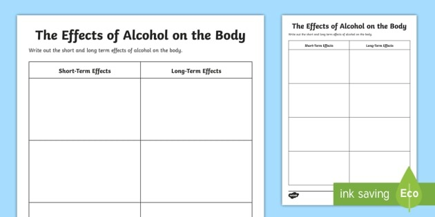 Short Term And Effects Of Alcohol On The Body Worksheet Worksheets