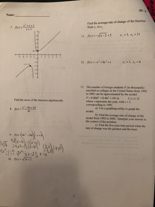 Solved  Analyzing Graphs Of Functions Problem Use A Gr