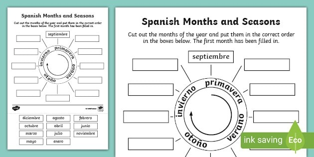 Spanish Months And Seasons Worksheet Teacher Made