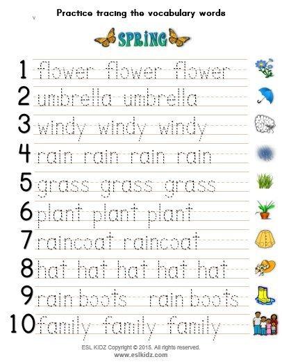 Spring Vocabulary Writing Practice