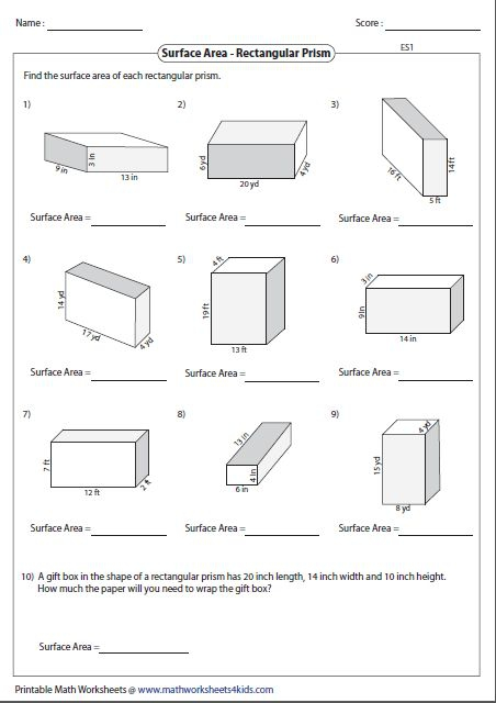 Surface Area Worksheets Th Grade