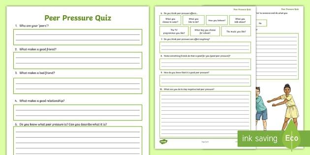 T P Peer Pressure Ks Quick Quizverorksheets Image