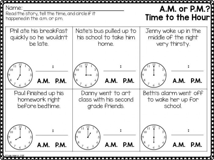 Telling Time Or Worksheets Worksheets Am And Pm For Second Grade