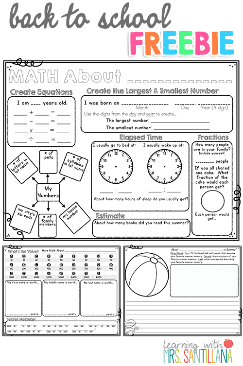 Th Grade Back To School Freebie Math About Me  Writing Activity