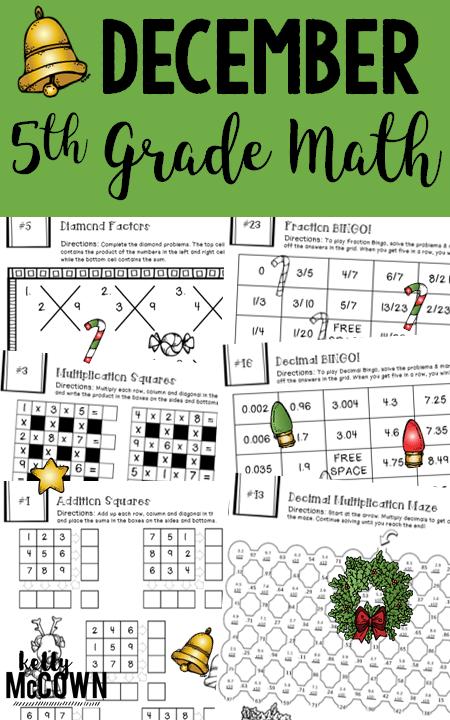 Th Grade December Math Packet No Prep  Print   Go Math Puzzles