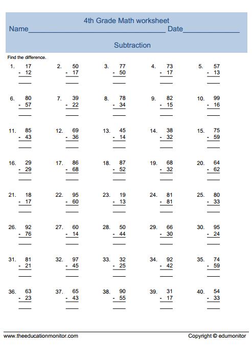 Th Grade Math Worksheets Free